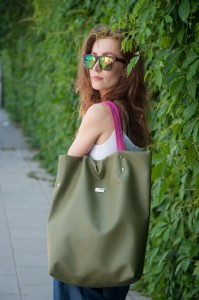 Shoper Bag Olive Green&Pink